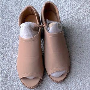 Nude open toe heel sandals